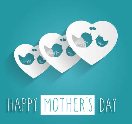 Hand drawn Happy Mothers Day on blue background. Vector illustration. Vector