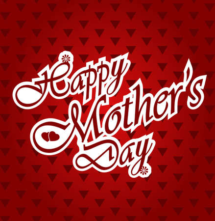 illustration editable: Happy Mothers day letters on triangle pattern red background.. Vector illustration Illustration