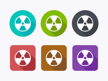 Radioactive icons in flat design Vector
