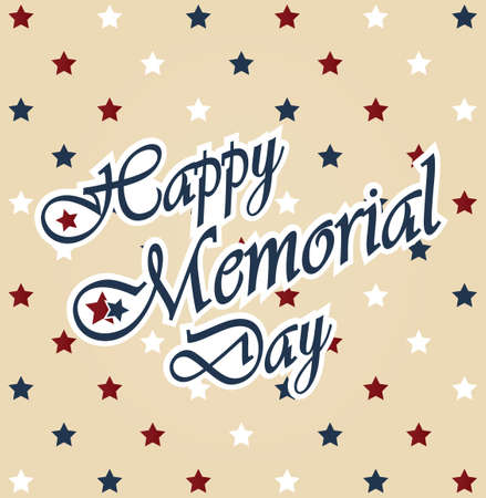 Happy Memorial Day vintage poster. Colorful star pattern background Vector