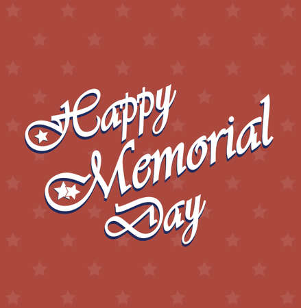 Happy Memorial Day vintage poster. Star pattern background Vector