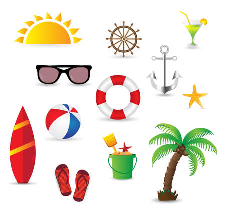 Summer elements isolated on white background. Vector illustration Vector