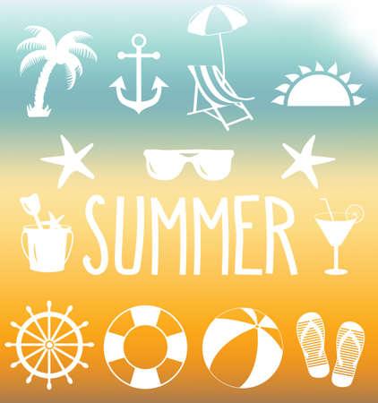 Summer icon set on mesh background. Vector illustration. Vector