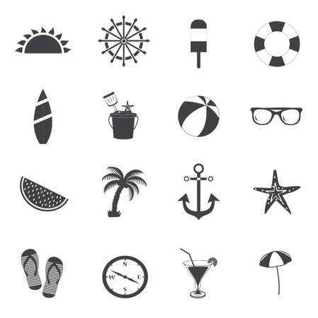 Summer icons. Travel and vacation icons. Black and white. Vector illustration. Vector