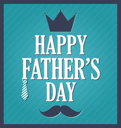 s tie: Fathers Day greeting template. Blue background dark blue frame. Vector illustration. Illustration