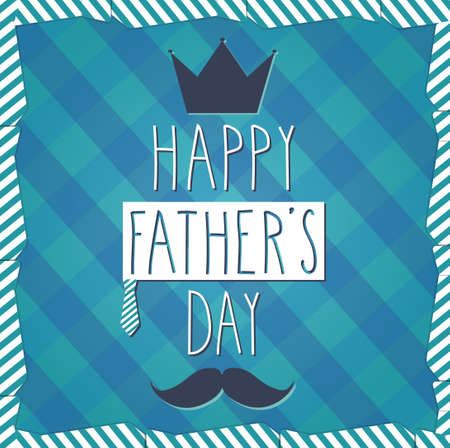 happy fathers day card: Fathers Day hand drawn poster. Cloth background. Vector illustration