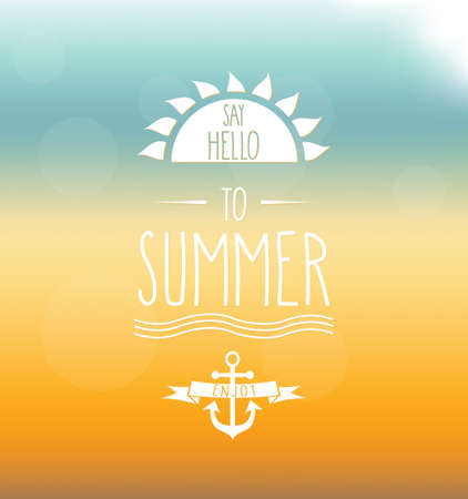 say hello: Say Hello to Summer hand drawn label. Mesh background. Vector illustration. Illustration