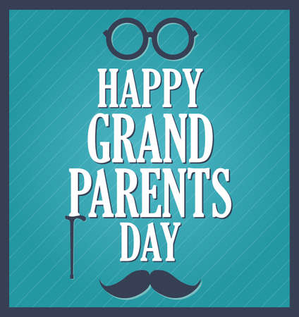 grandpa and grandma: Grandparents Day greeting template. Blue background, dark blue frame. Vector illustration.