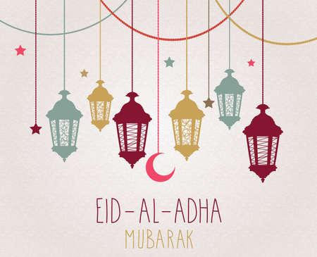 Eid al Adha mubarak poster. Hanging lantern. Vector illustration.