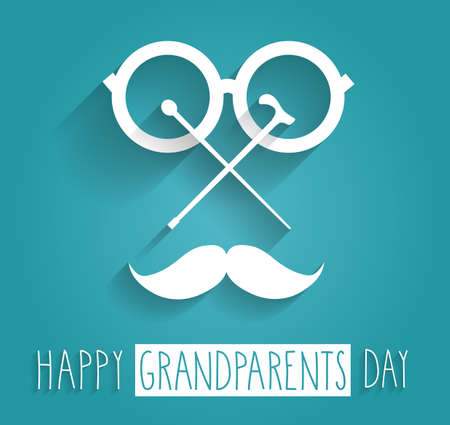 grandpa and grandma: Grandparents Day blue poster. Handwritten text. Vector illustration.