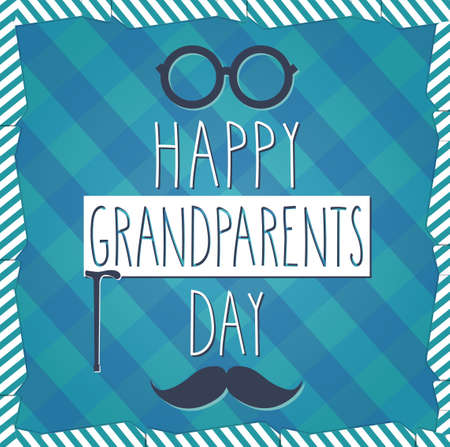 to tie: Grandparents Day blue poster. Cloth background. Vector illustration.