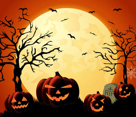 with spooky: Halloween night orange background with pumpkins and moon. Vector illustration.