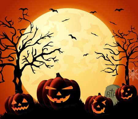 Halloween night orange background with pumpkins and moon. Vector illustration.