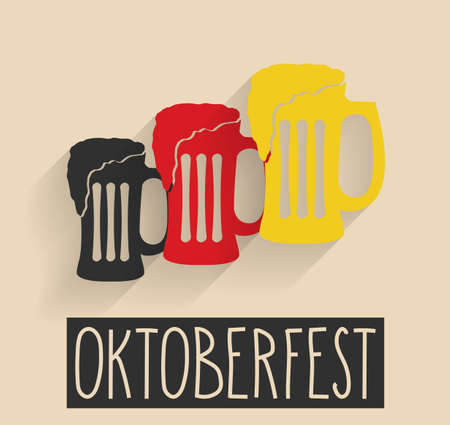 glas: Oktoberfest poster. Handwritten text. Beer glas German flag color. Vector illustration. Illustration