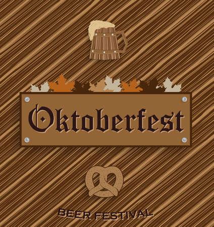 wiesn: Oktoberfest poster. Wooden background. Vector illustration. Illustration