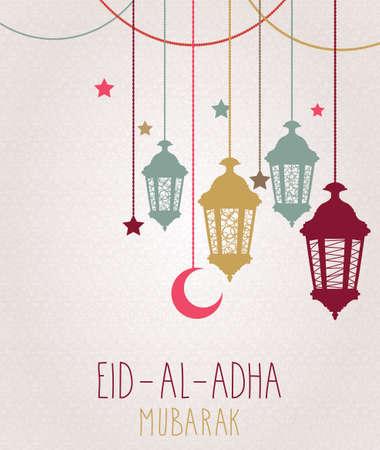 Eid Al Adha Mubarak wenskaart. Opknoping kleurrijke lantaarn. Vector illustratie.
