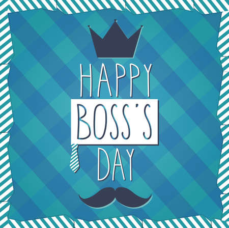 boss and employee: Boss Day hand drawn poster. Cloth background. Vector illustration Illustration