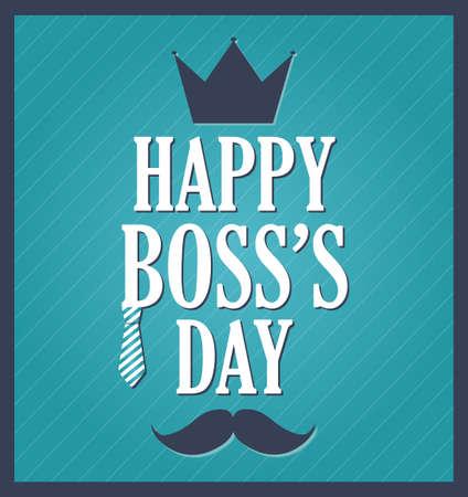 best employee: Boss Day greeting template. Blue background, dark blue frame. Vector illustration.
