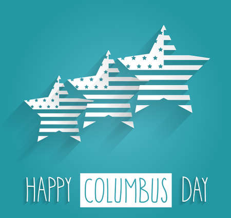 christopher columbus: Columbus Day blue poster. Handwritten text. Vector illustration.
