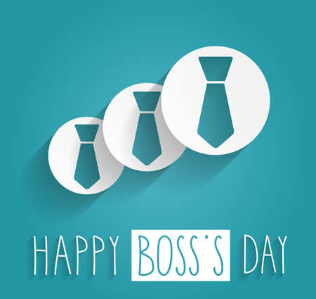 s tie: Boss Day handwritten text. Blue background. Vector illustration