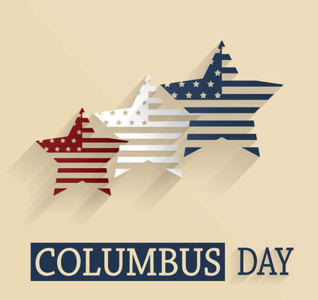 christopher columbus: Columbus Day poster. Red, white and blue stars. Vector illustration. Illustration