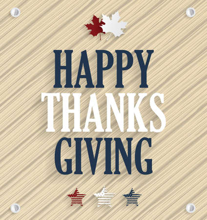 happy thanksgiving: Happy Thanksgiving. Wooden background. Vector illustration.