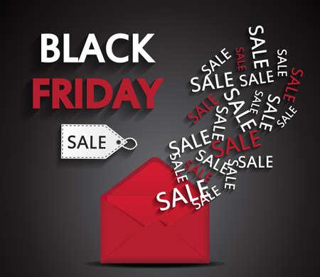 red envelope: Black Friday sale, red envelope. Vector illustration. Illustration
