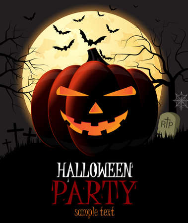 Halloween Party poster with pumpkin and place for text. Vector illustration.
