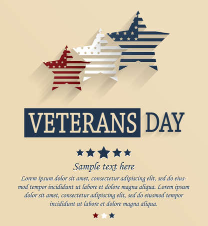 Veterans Day card. Red, white and blue stars. Vector illustration. Illustration
