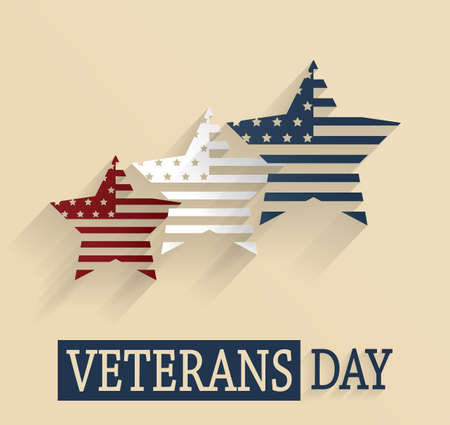 remembrance day: Veterans Day poster. Red, white and blue stars. Vector illustration.