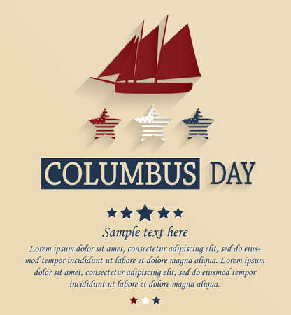 cristoforo colombo: Columbus day card. Vector illustration.