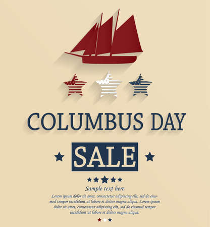 Columbus Day sale card. Vector illustration.