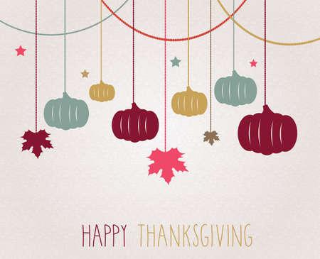 thanksgiving day symbol: manifesto del Ringraziamento. Hanging zucche colorate e foglie di acero. Illustrazione vettoriale.