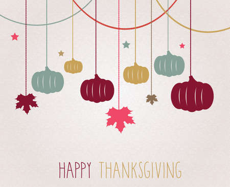 postcard background: Thanksgiving poster. Hanging colorful pumpkins and maple leaves. Vector illustration. Illustration