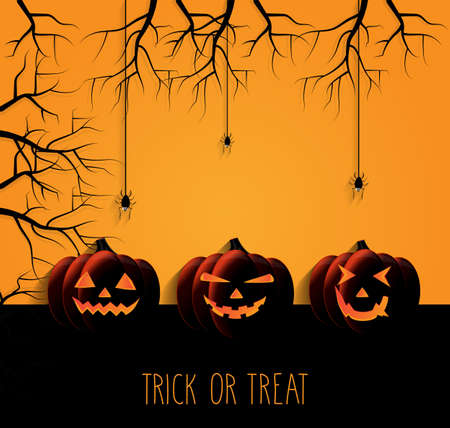 Trick or treat poster. Halloween pumpkin and spider. Vector illustration.