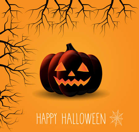 cobweb: Halloween orange poster with cobweb. Vector illustration.