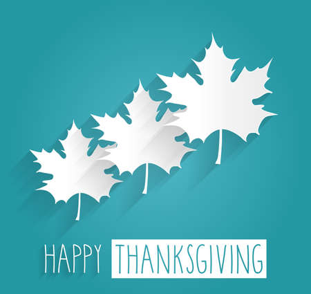 happy holidays card: Happy Thanksgiving blue poster. Handwritten text. Vector illustration.