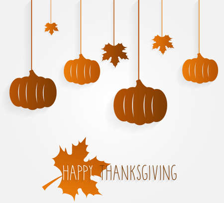 happy: Happy Thanksgiving poster with hanging leaves and pumpkins. Vector illustration. Illustration