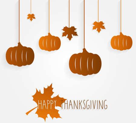 thanksgiving day symbol: manifesto Happy Thanksgiving con foglie appese e zucche. Illustrazione vettoriale.