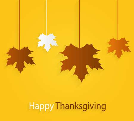 thanksgiving day symbol: Ringraziamento manifesto giallo con i fogli appesi. Illustrazione vettoriale.