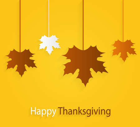 text background: Thanksgiving yellow poster with hanging leaves. Vector illustration.