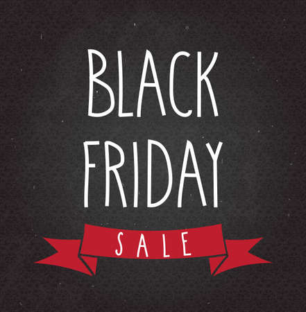 layout design template: Black Friday Sale handwritten text on black chalkboard. Vector illustration. Illustration