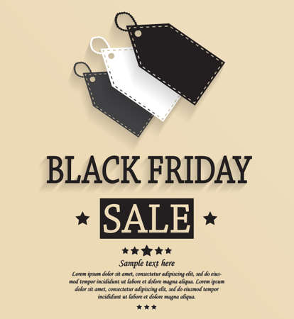 black a: Black Friday Sale vintage card. Vector illustration.