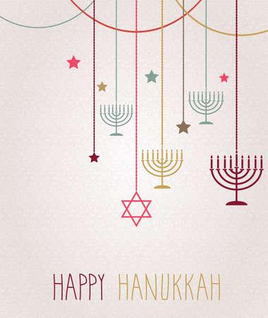 hanukkah: Hanukkah card. Hanging colorful menorah. Vector illustration.