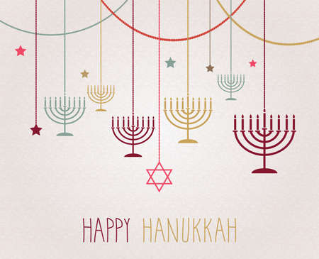 hannukah: Hanukkah poster. Hanging colorful menorah. Vector illustration. Illustration