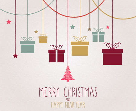 message card: Christmas poster. Hanging colorful presents. Vector illustration. Illustration