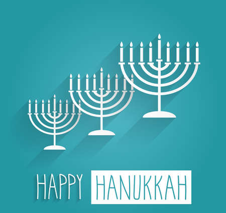 hanuka: Happy Hanukkah blue poster. Handwritten text. Vector illustration.