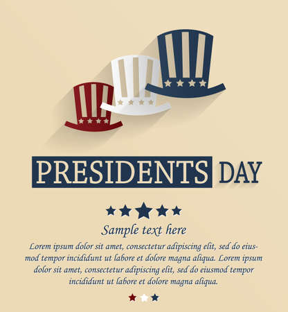 Presidents Day card. Red, white and blue stars.