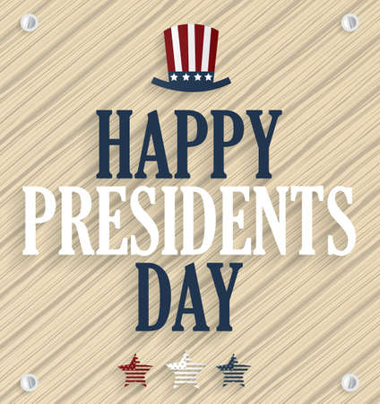 happy people white background: Presidents day poster. Wooden background. Illustration