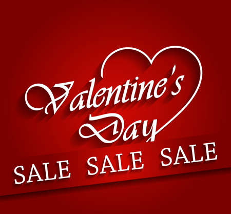 valentine s day background: Valentines day sale poster with ribbon.